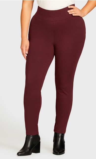 Ponte Pull-On Pant Plum - average