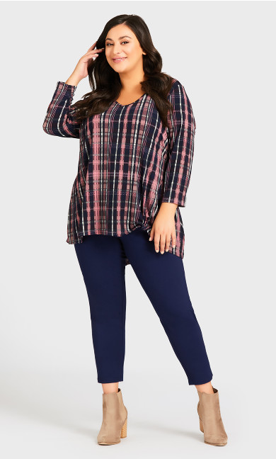 Plus Size Ponte Pull-On Pant Navy - petite