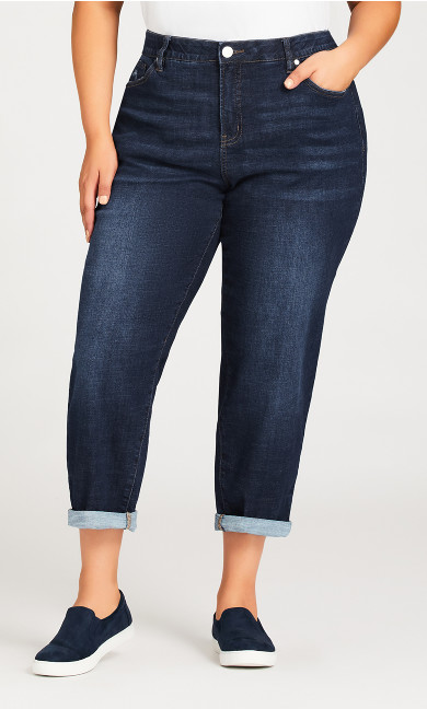 Girlfriend Jean Dark Wash - petite