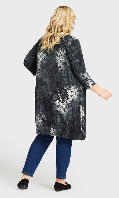 Aria Print Longline Jacket - gray lace