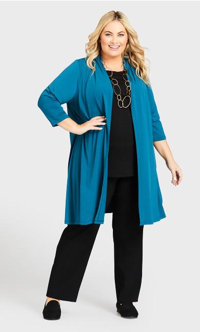 Aria Longline Jacket - teal