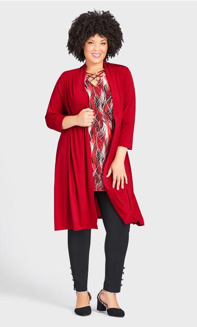 Aria Longline Jacket - ruby