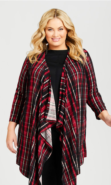 Plus Size Shadow Lane Cardi - red plaid