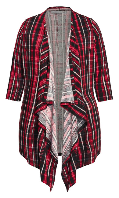 Shadow Lane Cardigan - red plaid