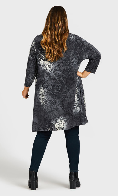 Aria Print Jacket - gray lace