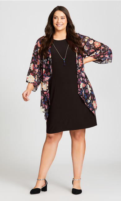 Plus Size Rose Floral Duet Dress - black