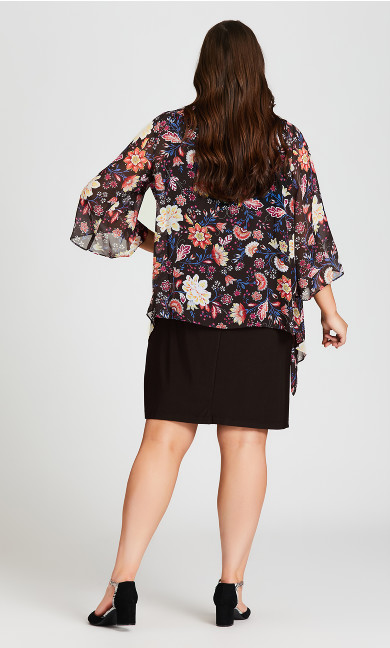 Rose Floral Duet Dress - black