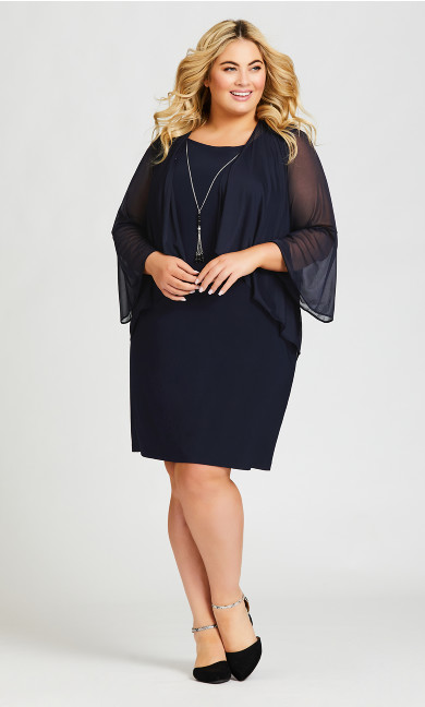 Plus Size Glam Duet Dress - navy