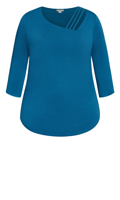 Cut Out 3/4 Sleeve Top  - blue