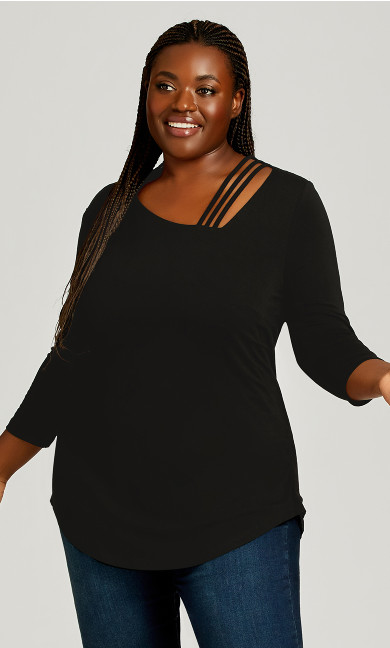 Plus Size 3/4 Sleeve Cut Out Top - black