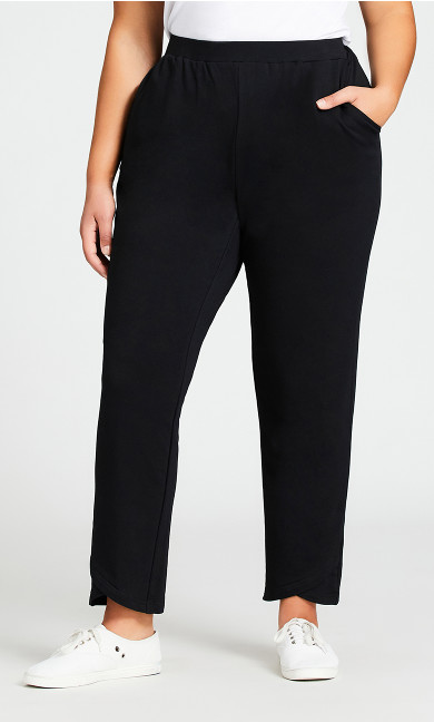 Knit Cross Hem Pant Black - average