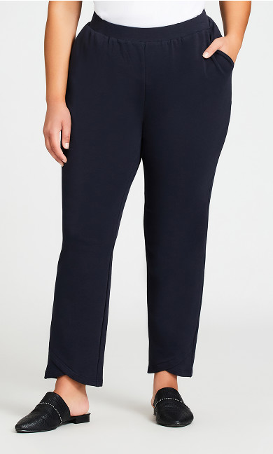 Knit Cross Hem Pant Navy - average
