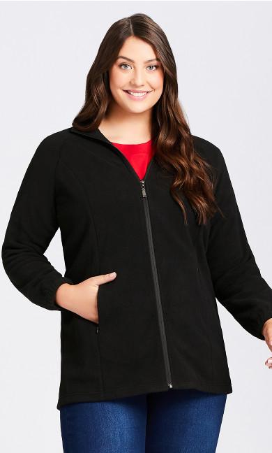 Plus Size Polar Fleece Zip Jacket - black