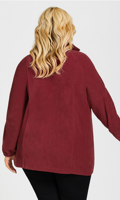 Polar Fleece Zip Jacket - cherry