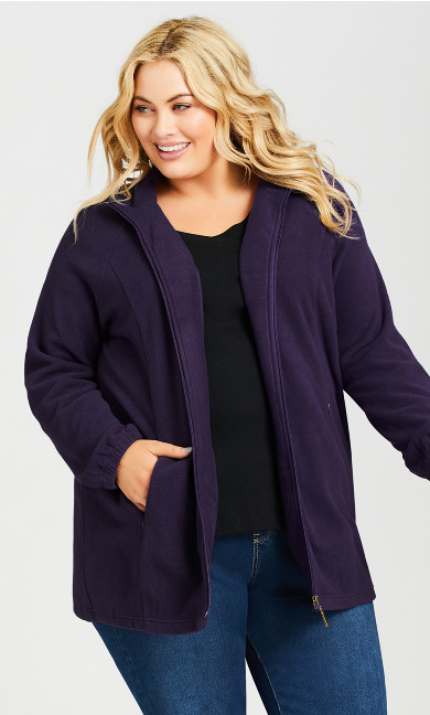 Plus Size Polar Fleece Zip Jacket - plum