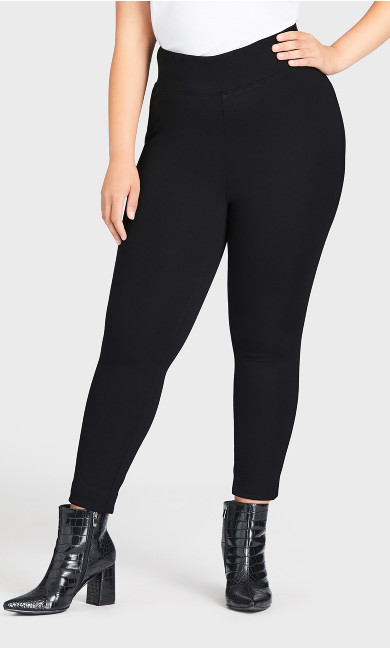 Wide Waist Ponte Pant Black - average