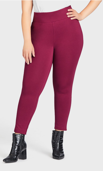 Wide Waist Ponte Pant Plum - average