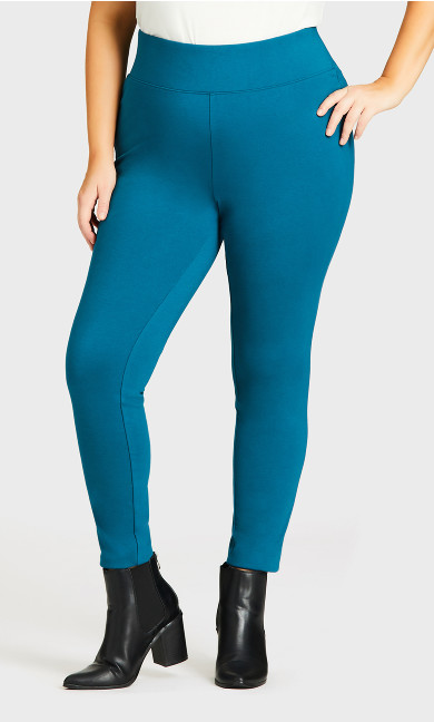 Wide Waist Ponte Pant Teal - average