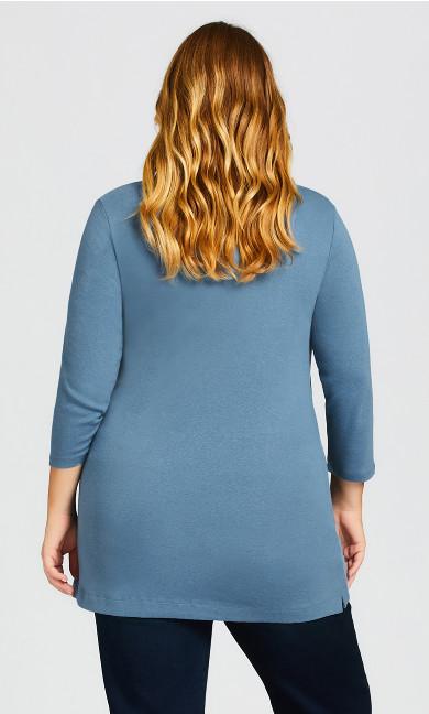 Wessex Essential Longline Tee - blue velvet