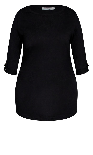 Sussex Slub Longline Top - black