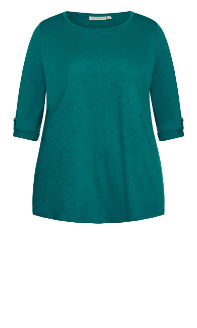 Sussex Slub Longline Top - turquoise