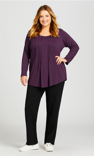 Plus Size Straight Leg Pull-On Pant Black - average