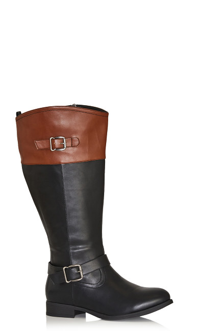 Plus Size Tall Riding Boot - black