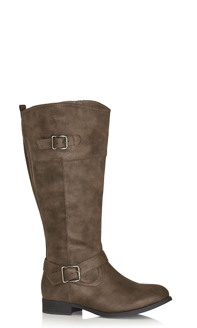 Plus Size Tall Riding Boot - taupe