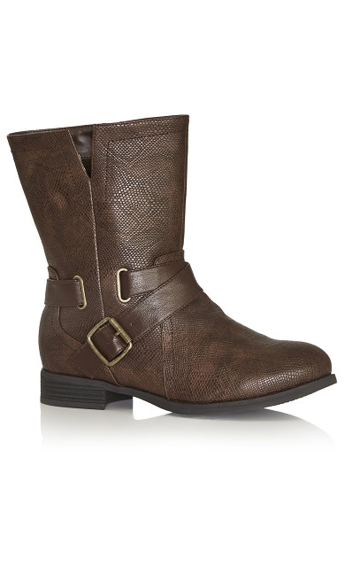Plus Size Mid Boot - brown