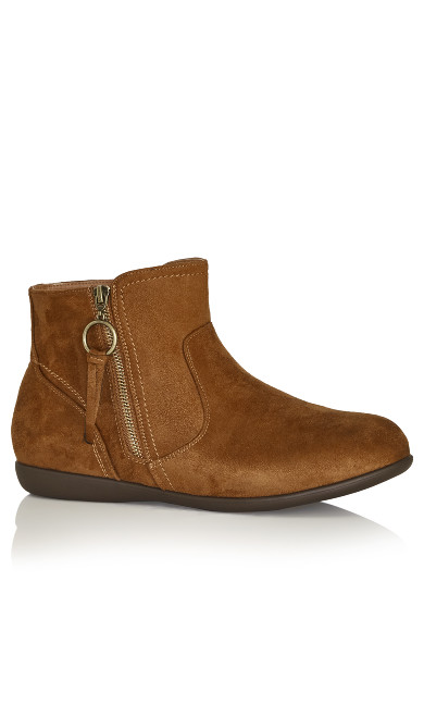 Plus Size Outside Zip Bootie - brown