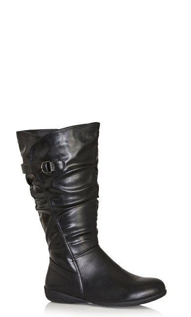Plus Size Scrunch Tall Boot - black