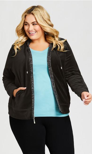 Plus Size Metallic Velour Jacket - black