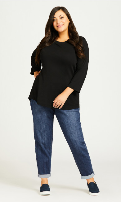 Plus Size Girlfriend Stretch Jean Mid Wash - petite