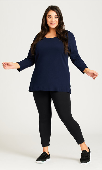 Plus Size Legging Pima High Rise Black - petite