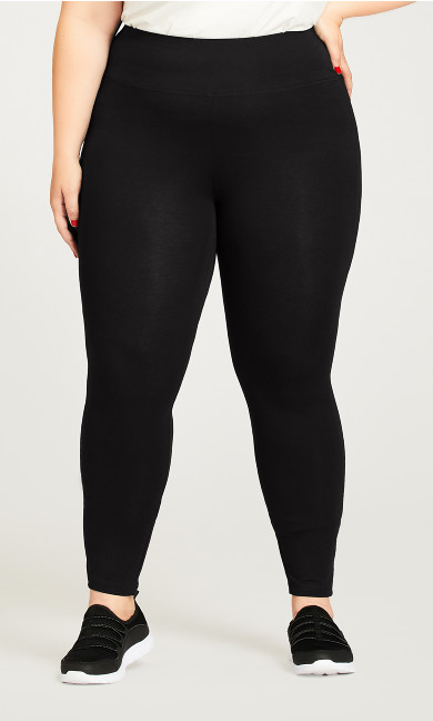 Plus Size Legging Pima High Rise Black - tall