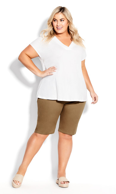 Plus Size Pull On Butter Denim Short - khaki