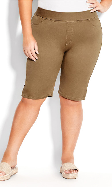 Pull On Butter Denim Short - khaki