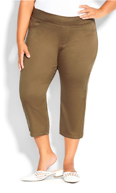 Pull On Butter Denim Crop Pant - khaki