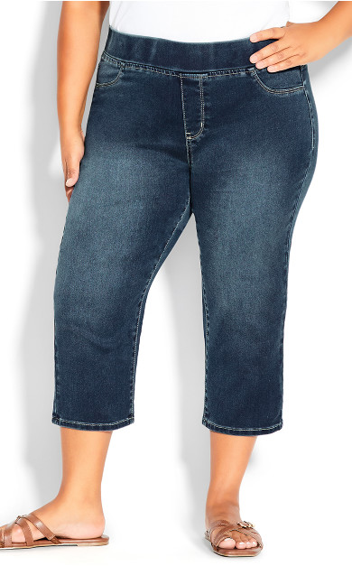 Pull On Butter Denim Crop Pant - mid wash