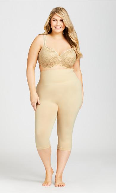 Plus Size Seamless Hi Waist Capri - beige