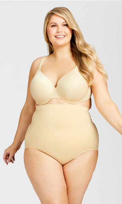 Plus Size Hi Waist Shaper Brief - beige