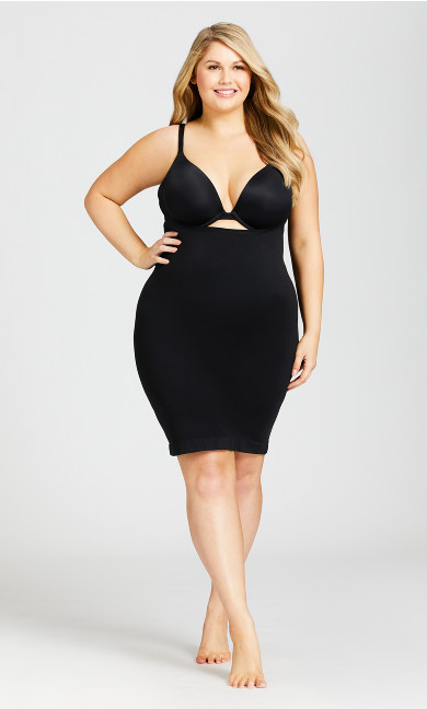 Plus Size Seamless Shaper Slip - black