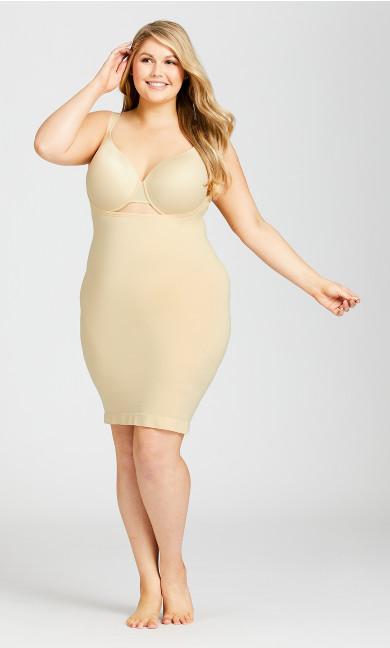Plus Size Seamless Shaper Slip - beige