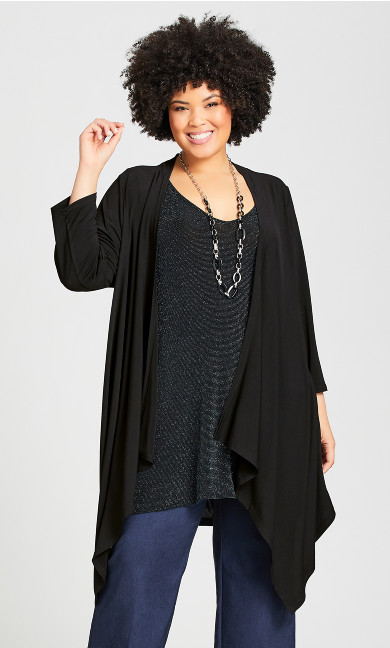 Plus Size Mixed Media Plain Overpiece - black