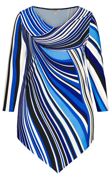 Point Hem 3/4 Sleeve Tunic - blue