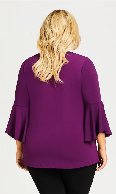 Bell Sleeve Plain Tunic - magenta