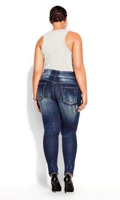 Asha Patched Petite Jean - mid denim