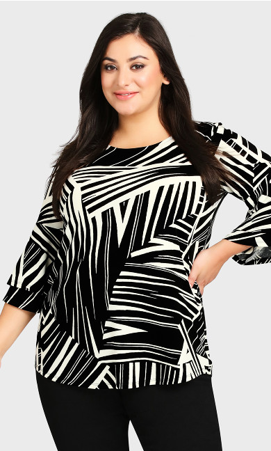 Double Bell Sleeve Print Top - mono graphic