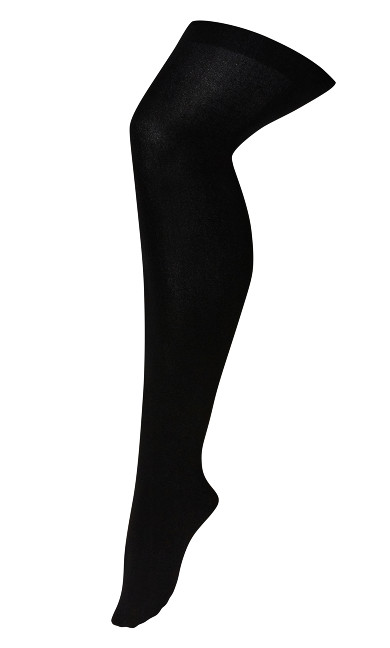 Plus Size Plush Lined Tights - black