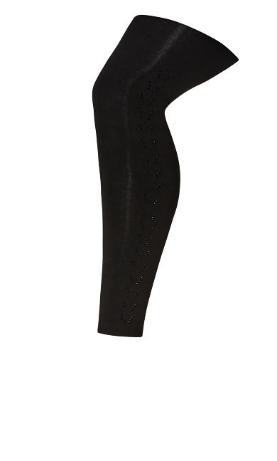 Plus Size Rhinestone Leggings - black